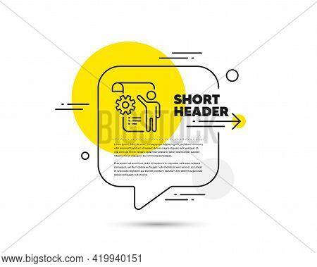 Settings Blueprint Line Icon. Speech Bubble Vector Concept. Engineering Cogwheel Tool Sign. Cog Gear