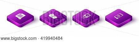 Set Isometric Share File, Folder, Hard Disk Drive On Sharing Network And Flight Mode The Mobile Icon