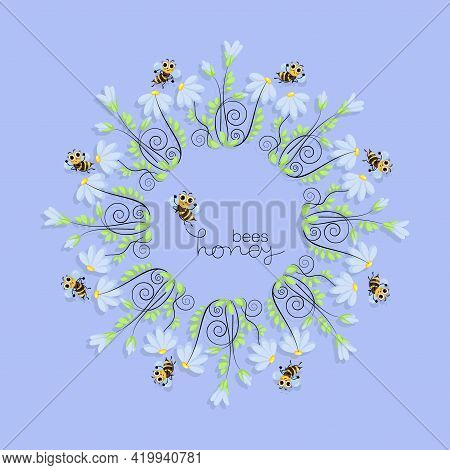 Honey Bees. Swarm. Chamomile Frame. World Bee Day. Bee Swarming, Honey Bees Fly In Chamomile Meadow