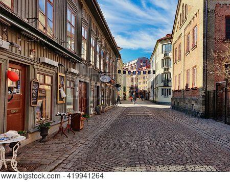 Gothenburg, Sweden- March 29 2020: Haga Charming Shopping Pedestrian Street