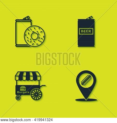 Set Aluminum Can Soda And Donut, Location With Hotdog, Fast Street Food Cart And Beer Icon. Vector