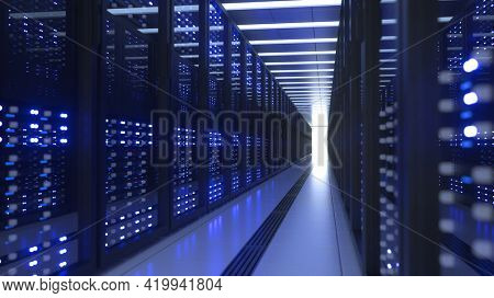 Data Center Computer Racks In Network Security Server Room Cryptocurrency Mining