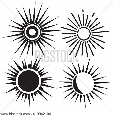 Set Of Sun Icons. Big Black Sun Icons Set Isolated On White Background. Sun Icon On White Background