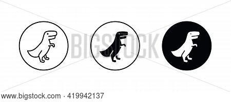 Dino Icons. Dinosaur, Raptor, Tyrannosaurus Vector Line Icon, Sign, Illustration On Background, Edit