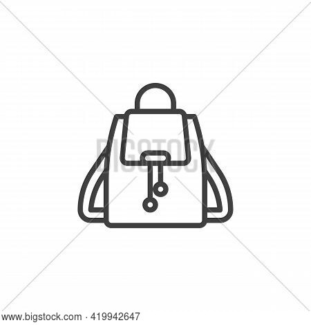 Stylish Backpack Line Icon. Rucksack Linear Style Sign For Mobile Concept And Web Design. Womens Bag