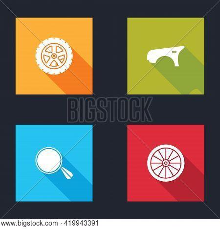 Set Car Wheel, Fender, Mirror And Icon. Vector