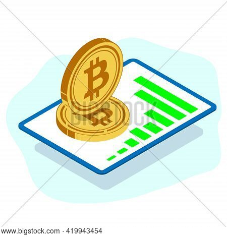 Large Tablet Top View With A Graph Of The Growth Of Trades. De Large Gold Volume Coins Of Digital Cr