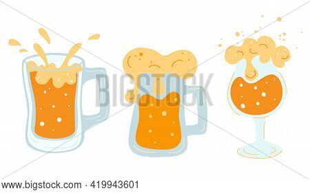 Set Of Various Mugs With Beer. Glasses Mugs With Handle Full Of Light Beer With Foam And Bubbles. Co