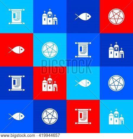 Set Decree, Paper, Parchment, Scroll, Church Building, Christian Fish And Pentagram Circle Icon. Vec