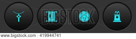 Set Christian Cross On Chain, Decree, Paper, Parchment, Scroll, Pentagram Circle And Stage Stand Or