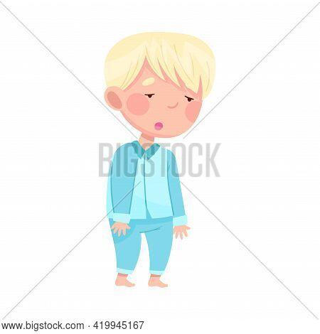 Cute Blond Boy In Blue Pajamas Yawning Feeling Sleepy Vector Illustration