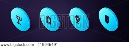 Set Isometric Closed Door, Location Lock, House Contract And Hanging Sign With Text Sold Icon. Vecto
