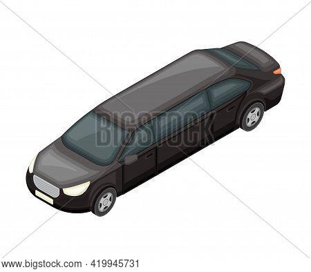 Stretch Limousine As Long Wheelbase Luxury Sedan And Urban Transport Isometric Vector Illustration