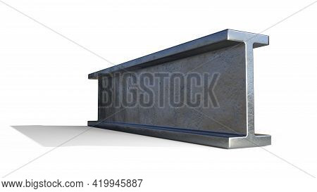 H-beam Rolled Metal, Isolated Digital Industrial 3d Illustration
