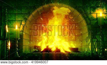 Magic Masonry Fireplace Flames Shining - Digital Object 3d Rendering