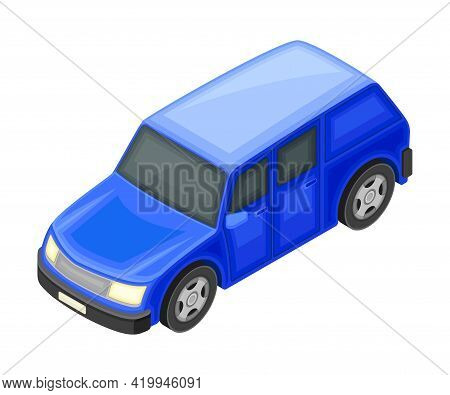 Blue Hatchback Car Body As Motor Vehicle And Urban Transport Isometric Vector Illustration
