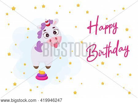 Happy Birthday Printable Party Greeting Card Template With Cute Magical Unicorn With Rainbow Colored
