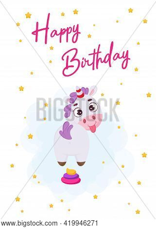 Happy Birthday Printable Party Greeting Card With Cute Magical Unicorn With Rainbow Colored Poop. Bi