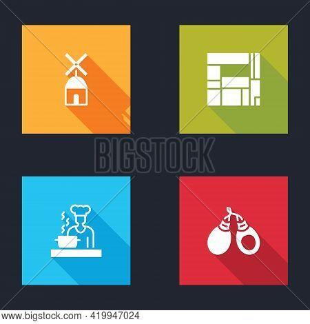 Set Windmill, House Edificio Mirador, Spanish Cook And Castanets Icon. Vector
