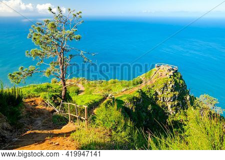 Madeira Island, Portugal. Beautiful View Of The Lookout Point By The Coast. Island Of Spring With Be