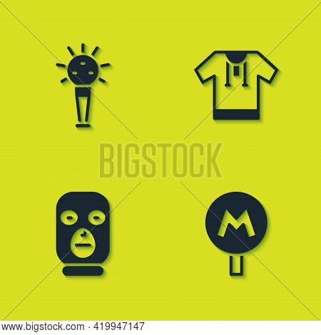Set Mace, Metro Or Underground, Thief Mask And Embroidered Shirt Icon. Vector