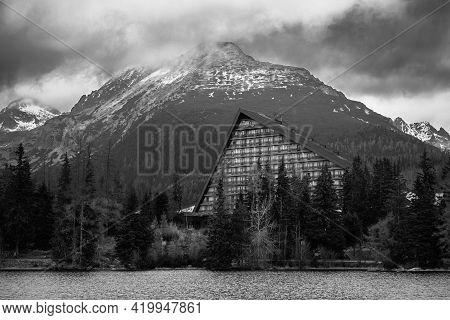 Black And White Photo Of Strbske Pleso, Vysoke Tatry (high Tatras), Slovakia. Photo Theme Is Mountai
