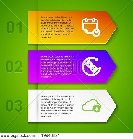 Set Line Calendar And Clock, Waiting, Cloud Sync Refresh And With Check Mark. Business Infographic T