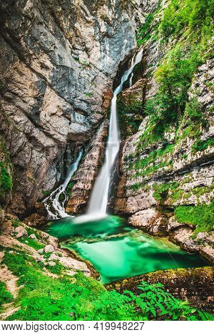 Waterfall Savica In The National Park Triglav In Slovenia. One Of The Most Popular Places In Sloveni