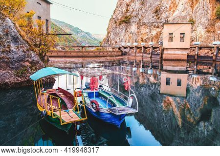Lake Matka In North Macedonia Near The Capital City Skopje. On The Picture Is A Dam And The Hydroele
