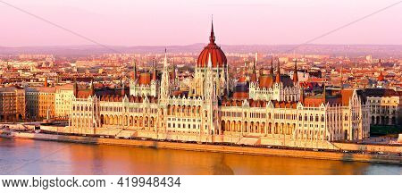 Panoramic Photo Palace Of Parliament Hungary (orszaghaz) In The Capital City Of Budapest City