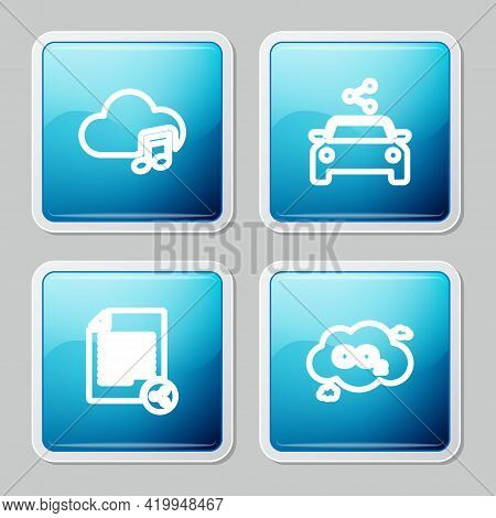 Set Line Music Streaming Service, Car Sharing, Share File And Co2 Emissions Cloud Icon. Vector
