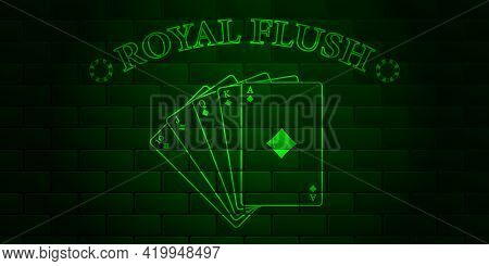 Dark Green Brick Wall With Glowing Text Poker And Royal Flush Of The Suit Of Diamonds. Vector Illust
