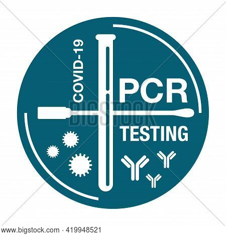 Pcr Testing Icon In Flat Hipster Style With Swab Stick, Test Tube, Crossed Bacterie And Antibody - P