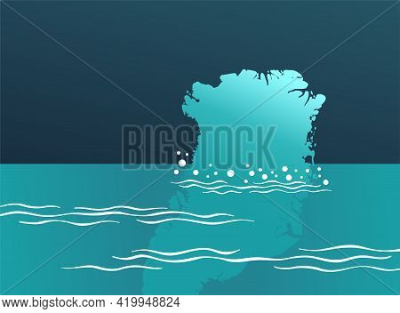 Climate Change - Ice Loss And Melting In Greenland Island. Vector Illustration