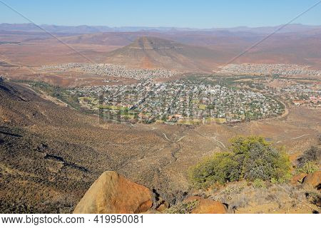 Elevated view of the town of Graaff-Reinet in the arid karoo region of South Africa