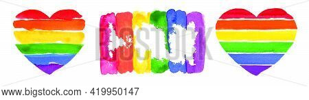 Watercolor Hand Painted Colorful Rainbow Set. Vector Pride Flag Isolated On White Paper