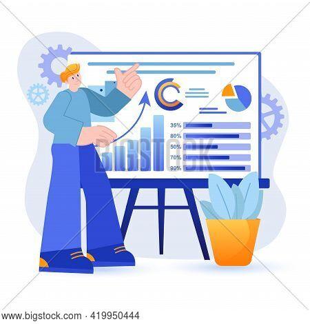 Big Data Analysis Concept. Analyst Analyzing Statistics Standing In Front Of Presentation Board Scen