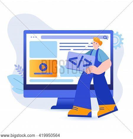 Web Development Concept. Programmer Creates Code For Webpage, Tests Program Scene. Development Of Pr