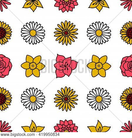 Flowers. Floral Seamless Pattern. Chamomile, Rose, Sunflower, Aster, Amaryllis, Daffodil, Lotus, Lil
