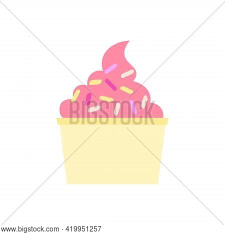 Flat Vector Illustration Of Paper Cup With Strawberry, Raspberry Soft Serve Ice Cream Or Gelato Or F
