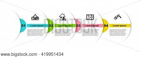 Set Line Hanging Sign With Sold, Search House, House Plan And Key. Business Infographic Template. Ve