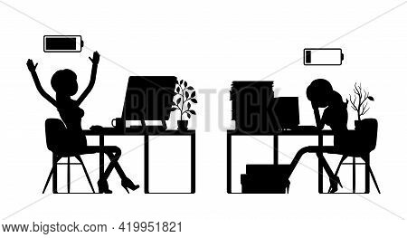 Female Black Silhouette, Businesswoman, Office Worker Empty, Full Battery. Administrative Manager Pe