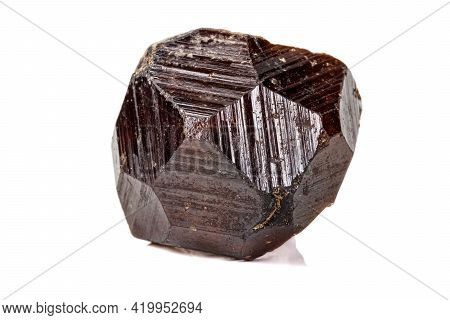 Macro Stone Grossular Mineral On White Background Close Up
