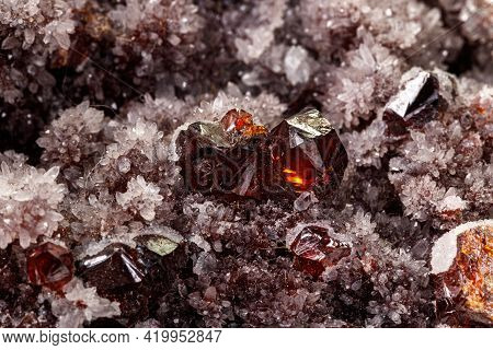 Macro Stone Mineral Quartz Sphalerite On A White Background Close Up