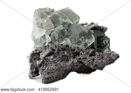 Macro Stone Fluorite Mineral On White Background Close Up
