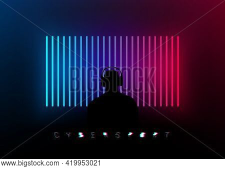 Silhouette Of A Gamer In Front Of A Creative Blue Pink Glowing Stripes On A Dark Background. Design
