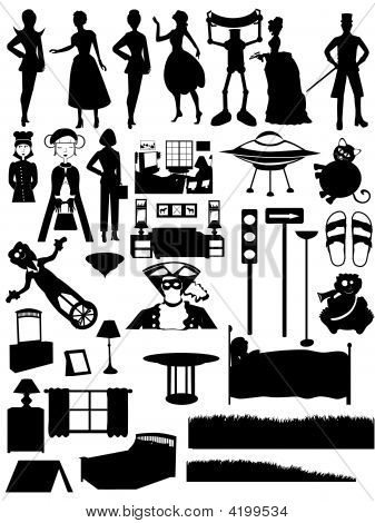 Random Silhouettes Set, Steampunk, People, Furniture, Fixtures, Scenes, Active