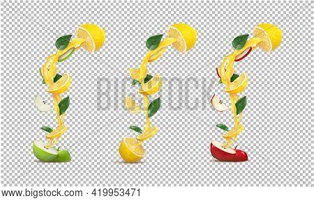 Set Of Halved Green Apple And Half Lemon, Red Apple And Half Lemon, Halved Lemon With Lemon And Appl
