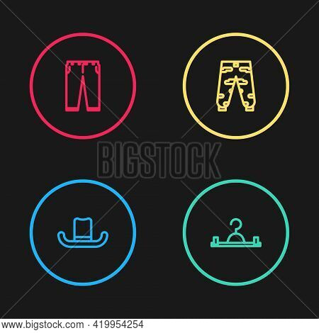 Set Line Man Hat, Hanger Wardrobe, Camouflage Cargo Pants And Pants Icon. Vector