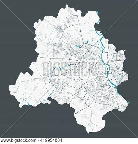 Delhi Map. Detailed Map Of Delhi City Administrative Area. Cityscape Panorama. Royalty Free Vector I